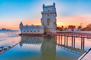 Belem Tower or Tower of St Vincent on the bank of the Tagus River at scenic sunset, Lisbon, Portugal; Shutterstock ID 1086987899; Purchase Order: -