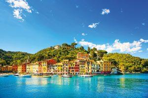 Portofino luxury landmark panorama. Village and yacht in little bay harbor. Liguria, Italy; Shutterstock ID 193905143; Purchase Order: -