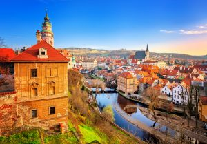 Cesky Krumlov, view of the red tile roofs and towers of the medieval gothic Old Town, Czech Republic